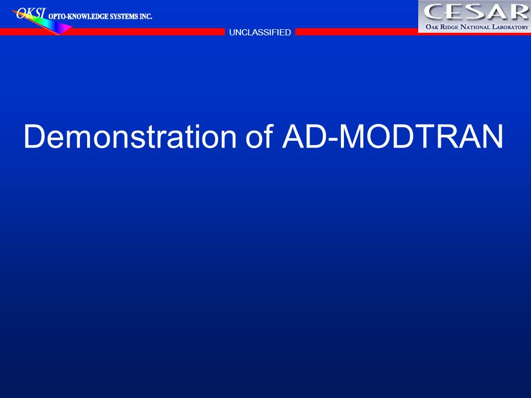 Demonstration of AD-MODTRAN