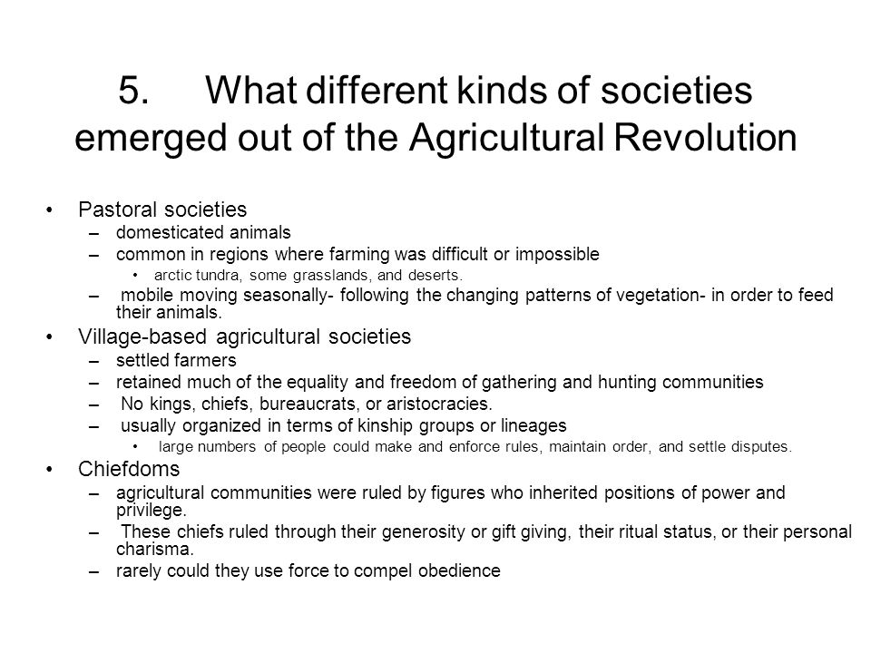 5. What different kinds of societies emerged out of the Agricultural Revolution