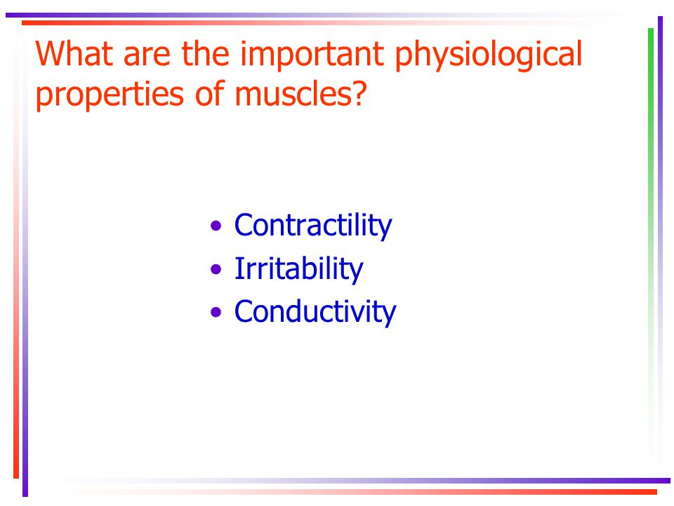 What are the important physiological properties of muscles