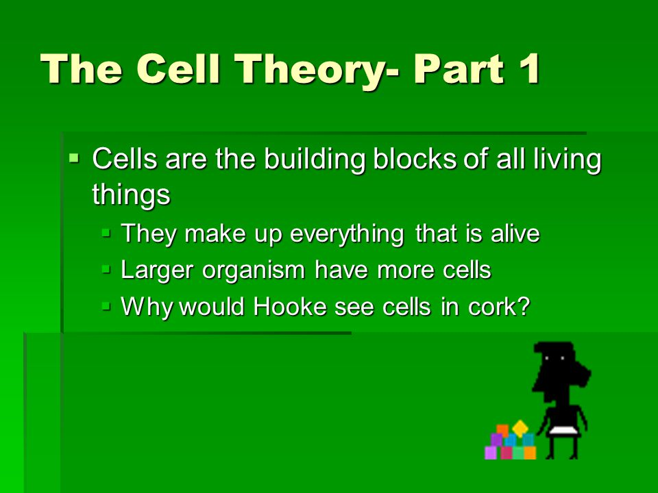 The Cell Theory- Part 1 Cells are the building blocks of all living things. They make up everything that is alive.