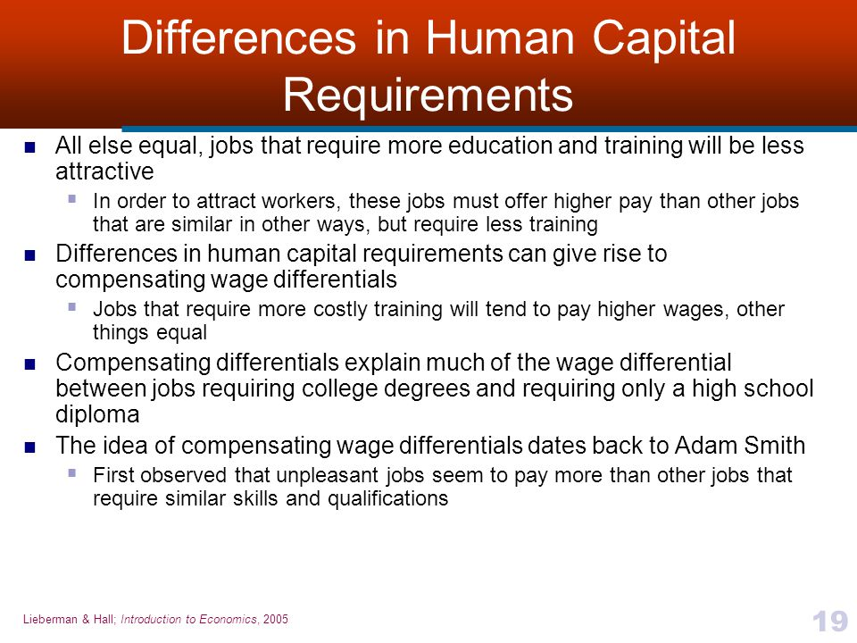 Differences in Human Capital Requirements