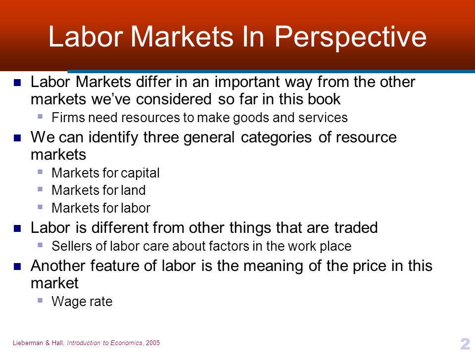 Labor Markets In Perspective
