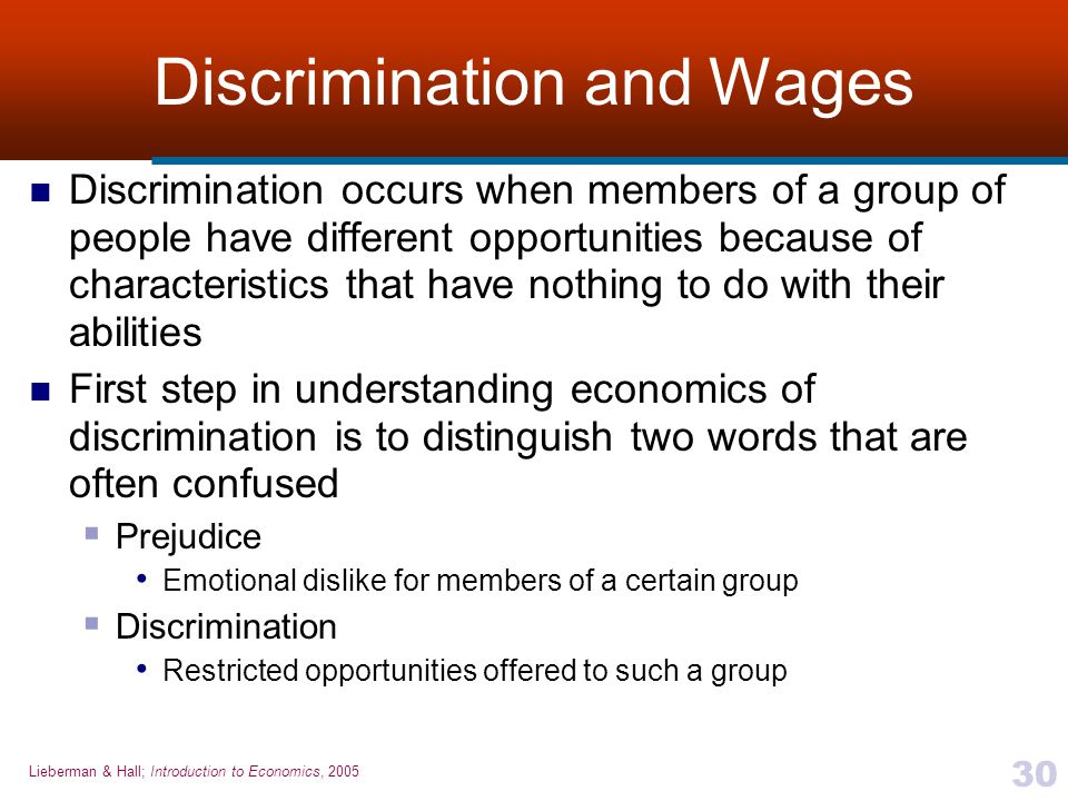 Discrimination and Wages