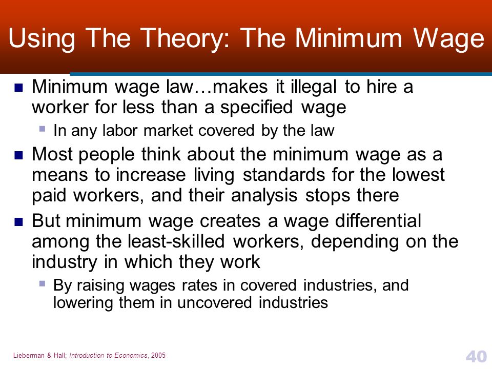 Using The Theory: The Minimum Wage
