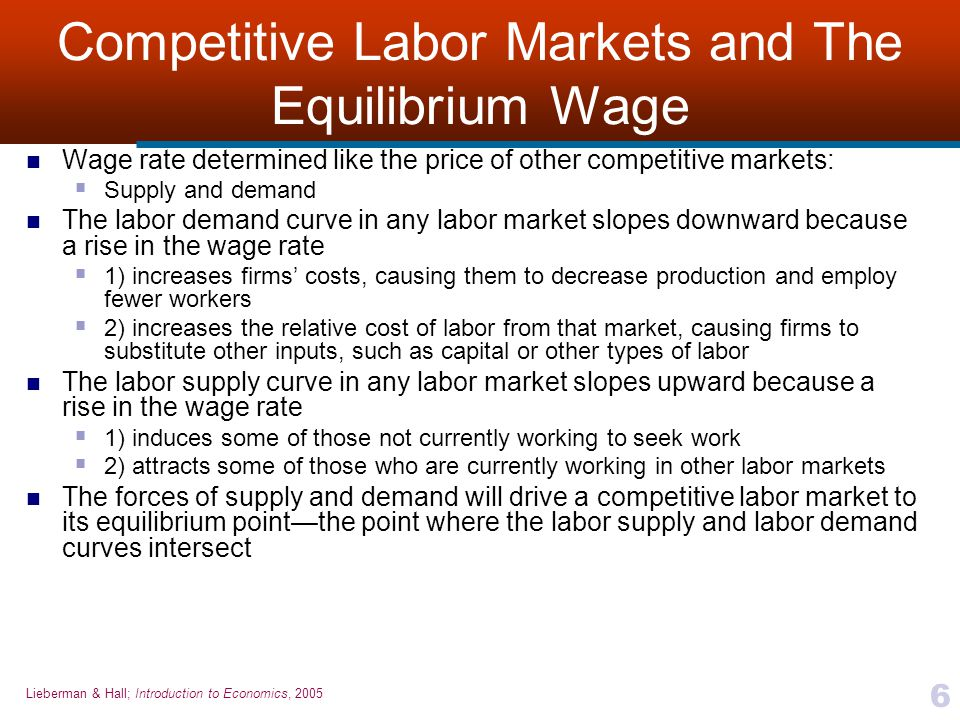 Competitive Labor Markets and The Equilibrium Wage