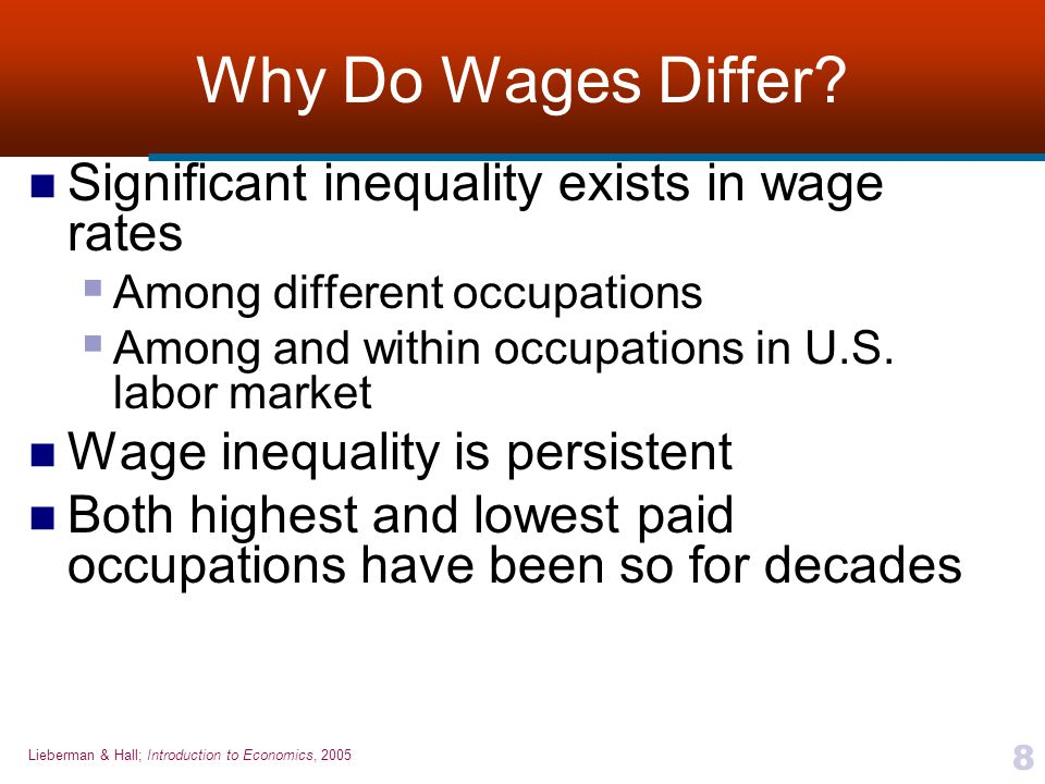why do wages differ across occupations Told me that she had been on a waiting list there for a year or so, and would be a  fool to turn ibm  constant these interindustry wage differentials apply across  occupations (if one  interindustry wage differences to differences in labor  quality.