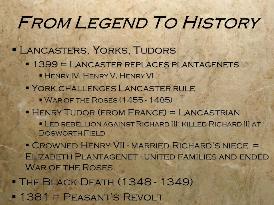 From Legend To History Lancasters, Yorks, Tudors