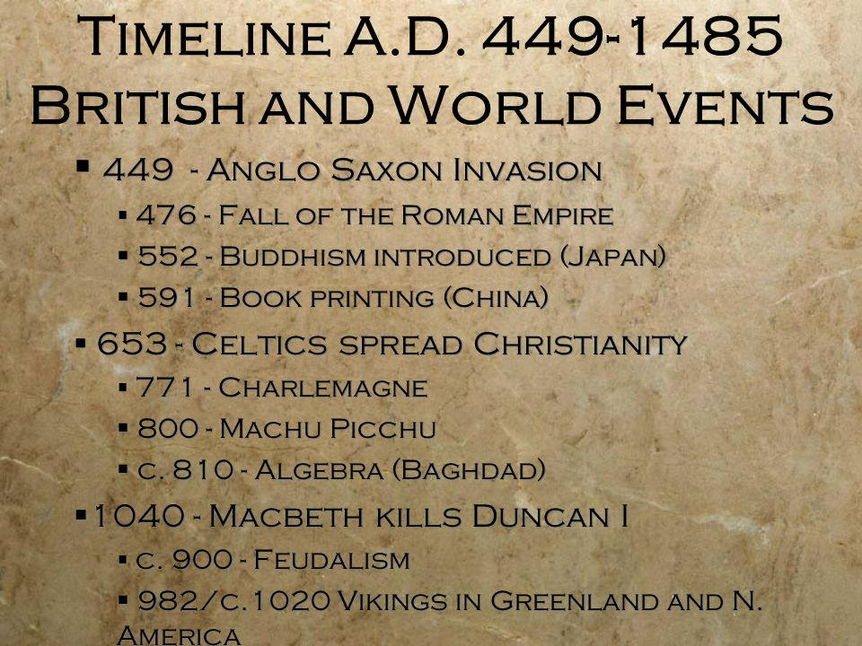 Timeline A.D. 449-1485 British and World Events