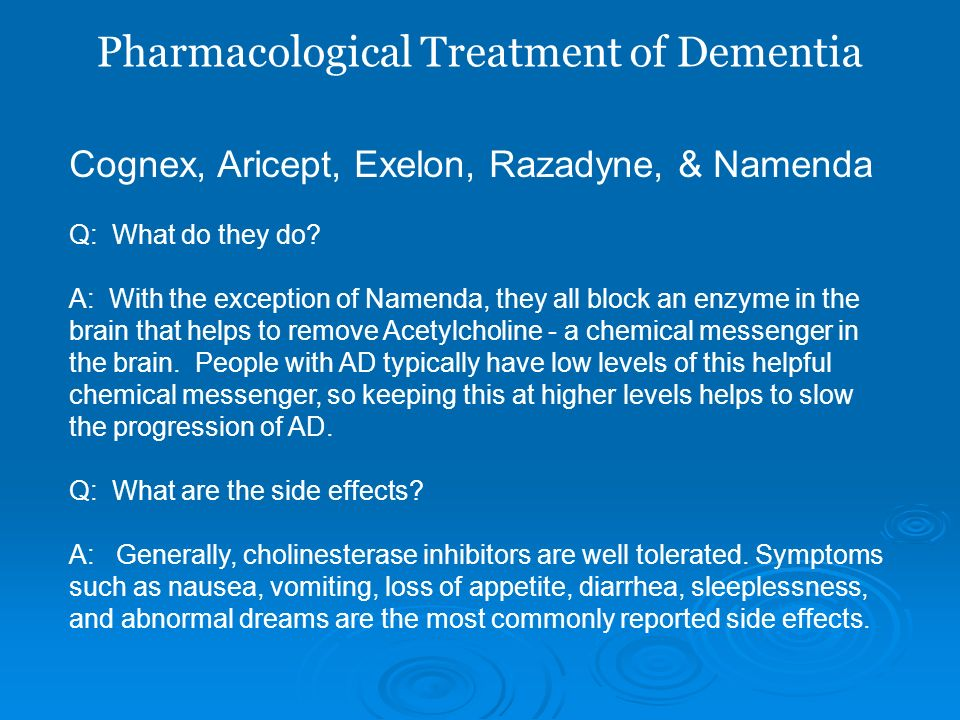 Pharmacological Treatment of Dementia