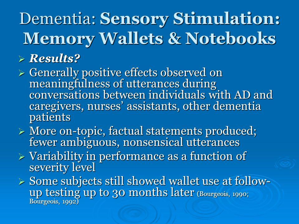 Dementia: Sensory Stimulation: Memory Wallets & Notebooks