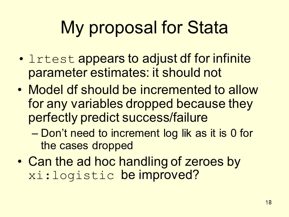 My proposal for Stata lrtest appears to adjust df for infinite parameter estimates: it should not.