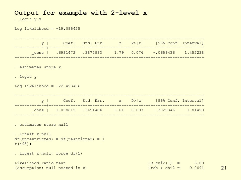 Output for example with 2-level x