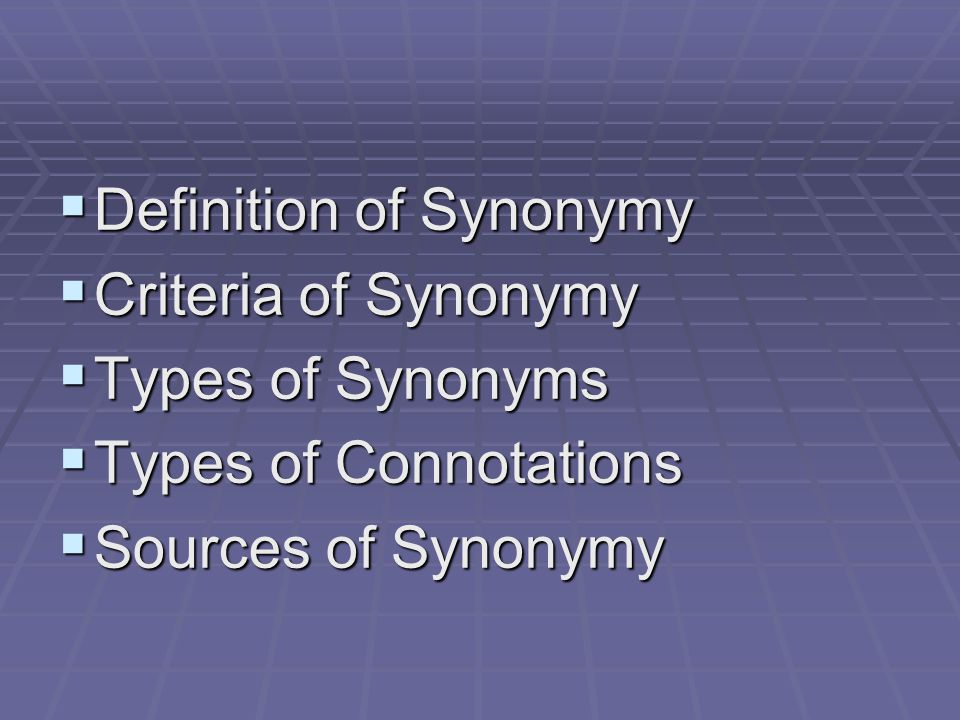 Definition of Synonymy