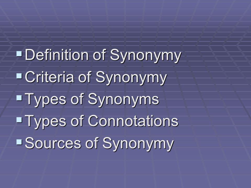 Definition of Synonymy