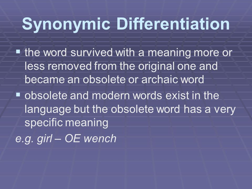 Synonymic Differentiation