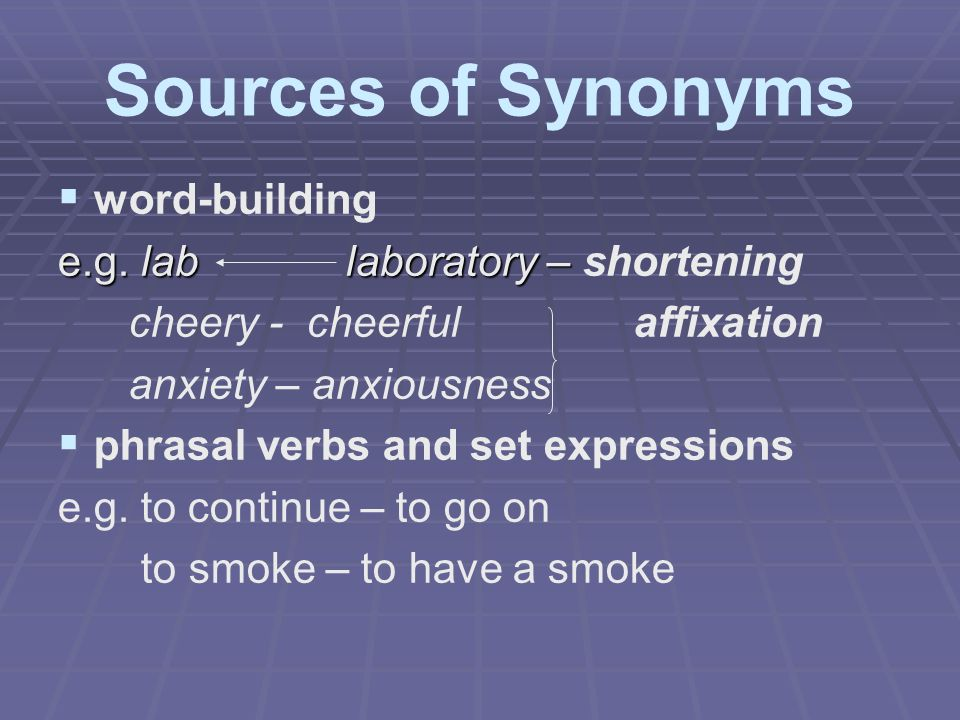 Sources of Synonyms word-building e.g. lab laboratory – shortening