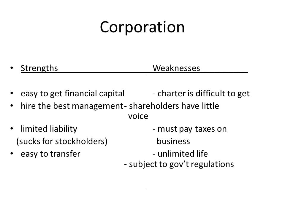 Corporation Strengths Weaknesses__________
