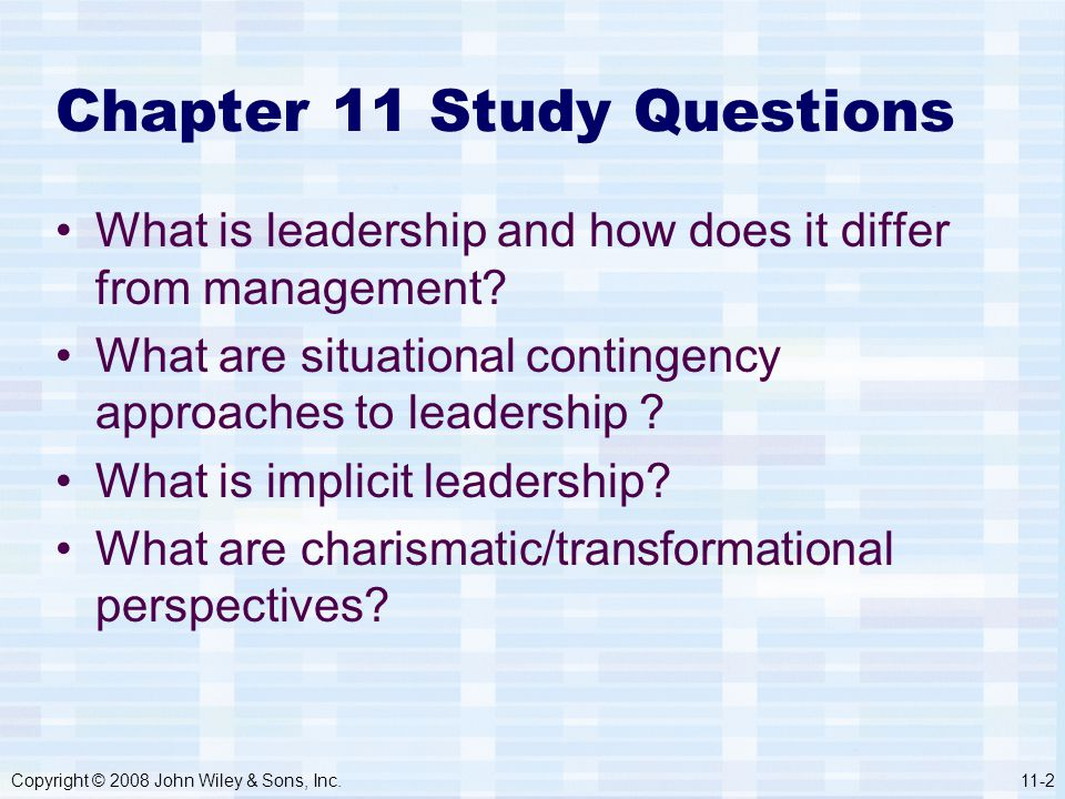 Chapter 11 Study Questions
