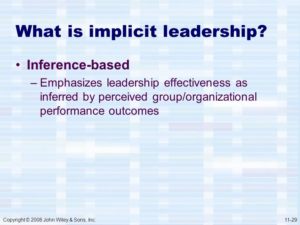What is implicit leadership
