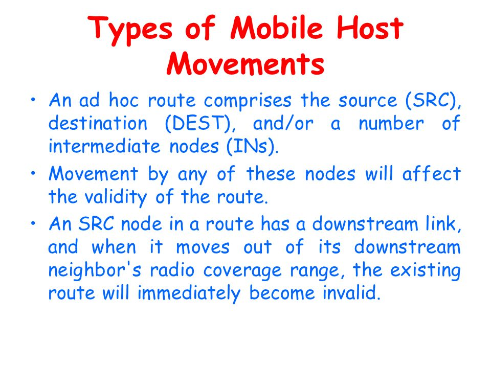 Types of Mobile Host Movements
