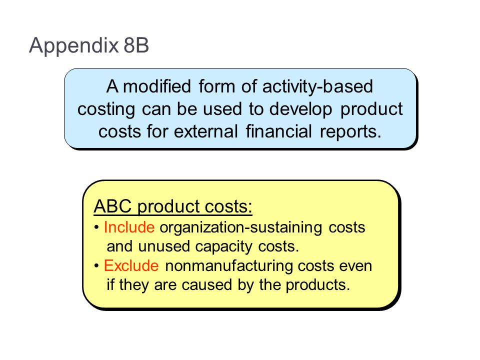 Appendix 8B A modified form of activity-based costing can be used to develop product costs for external financial reports.