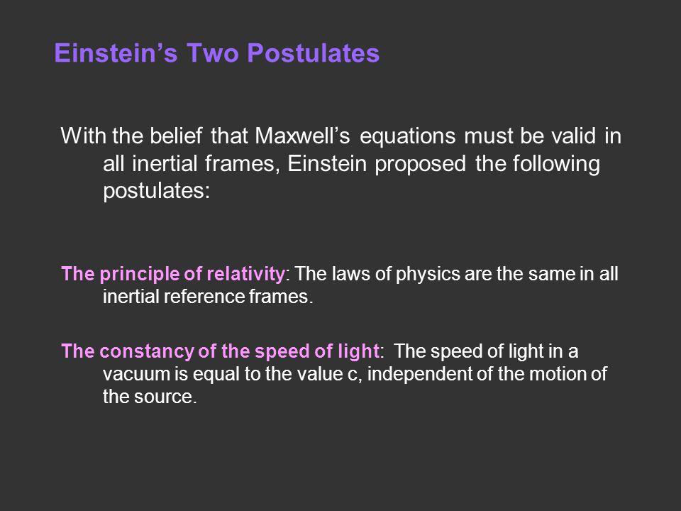 Einstein's Two Postulates