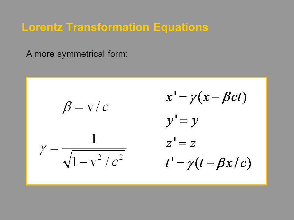 Lorentz Transformation Equations