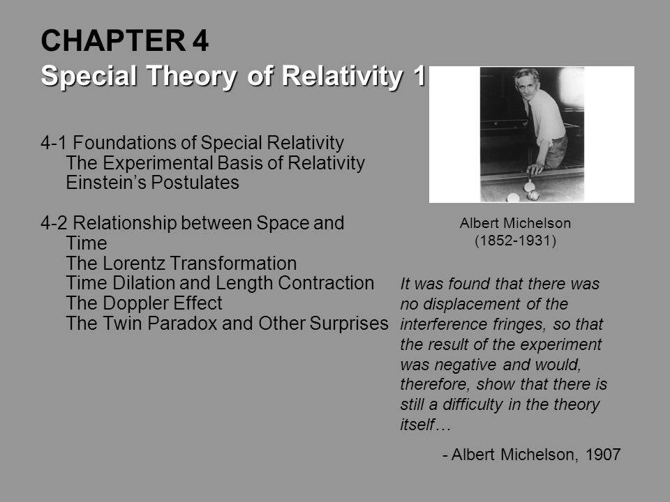 CHAPTER 4 Special Theory of Relativity 1