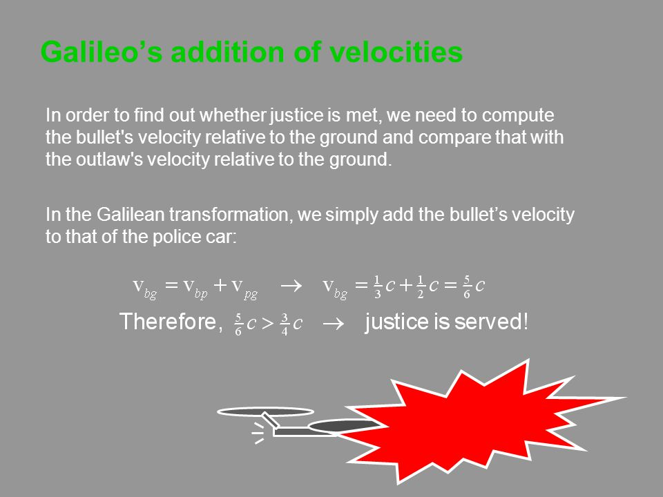 Galileo's addition of velocities