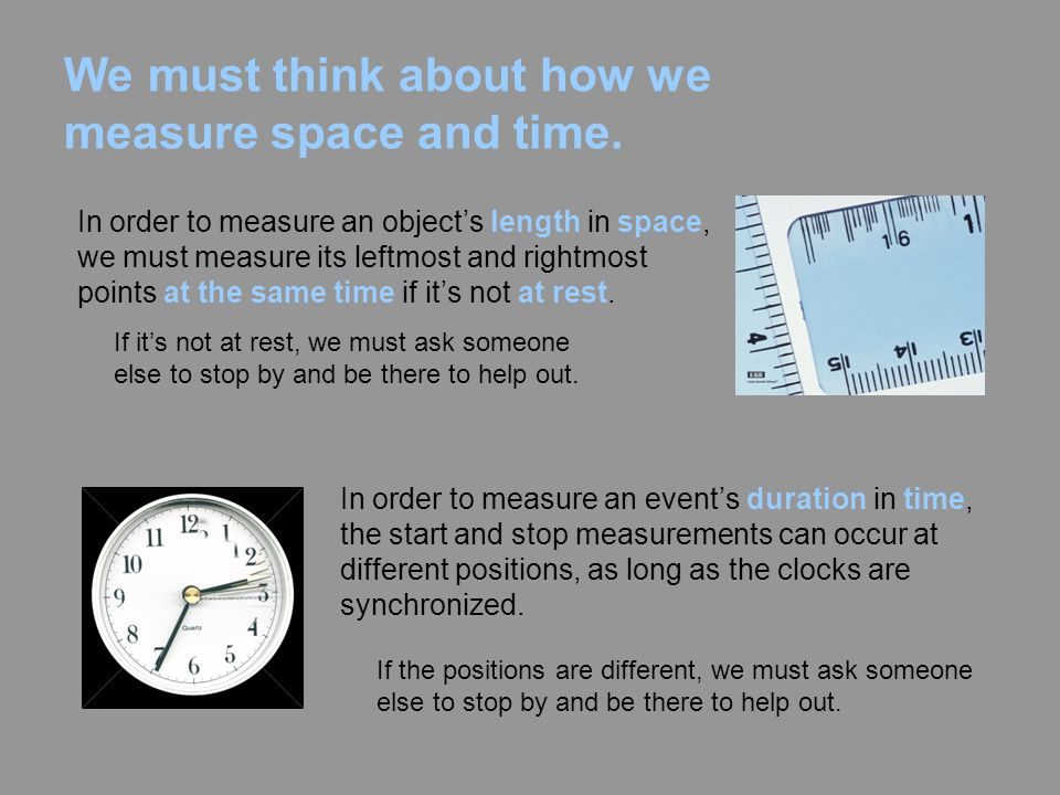 We must think about how we measure space and time.