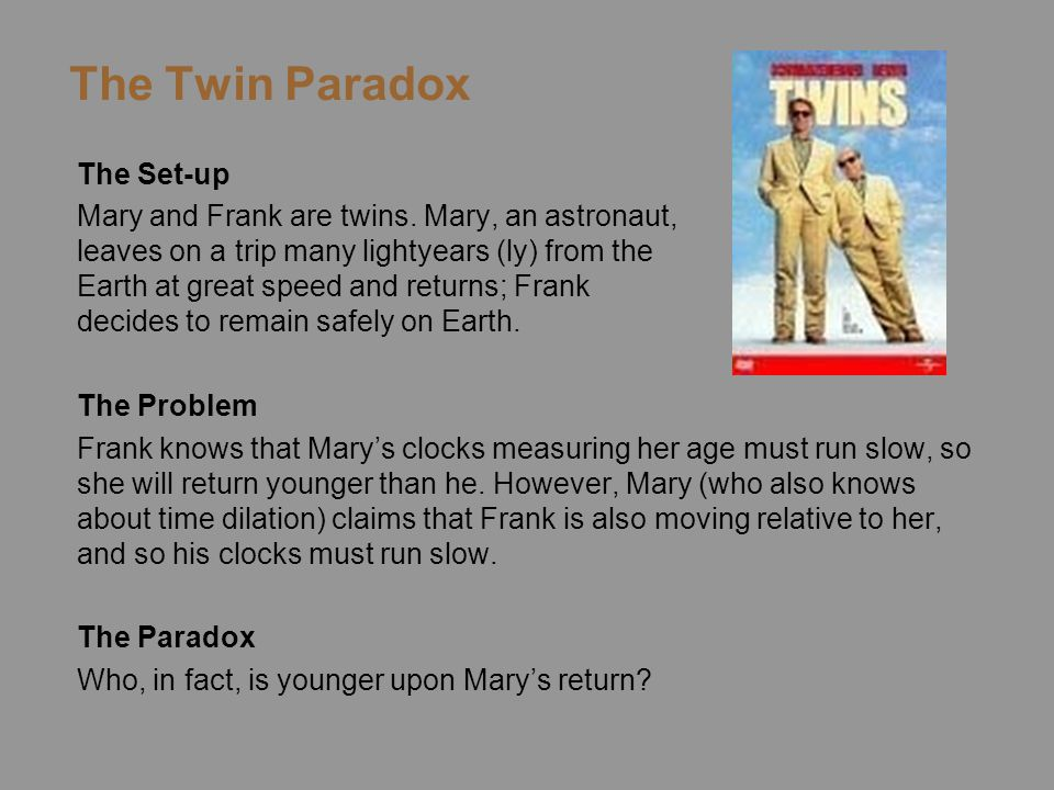 The Twin Paradox The Set-up