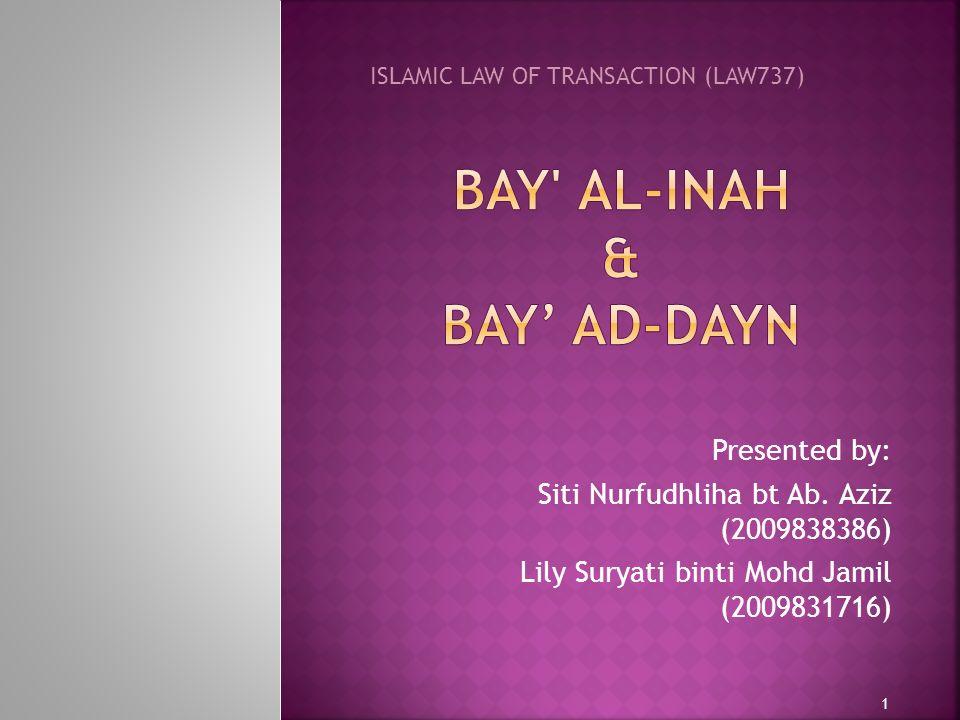 Bay al-Inah & BAY' AD-DAYN