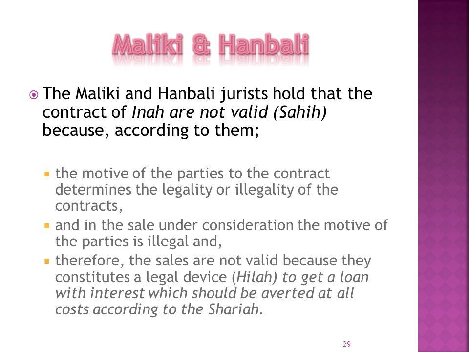 Maliki & HanbaliThe Maliki and Hanbali jurists hold that the contract of Inah are not valid (Sahih) because, according to them;