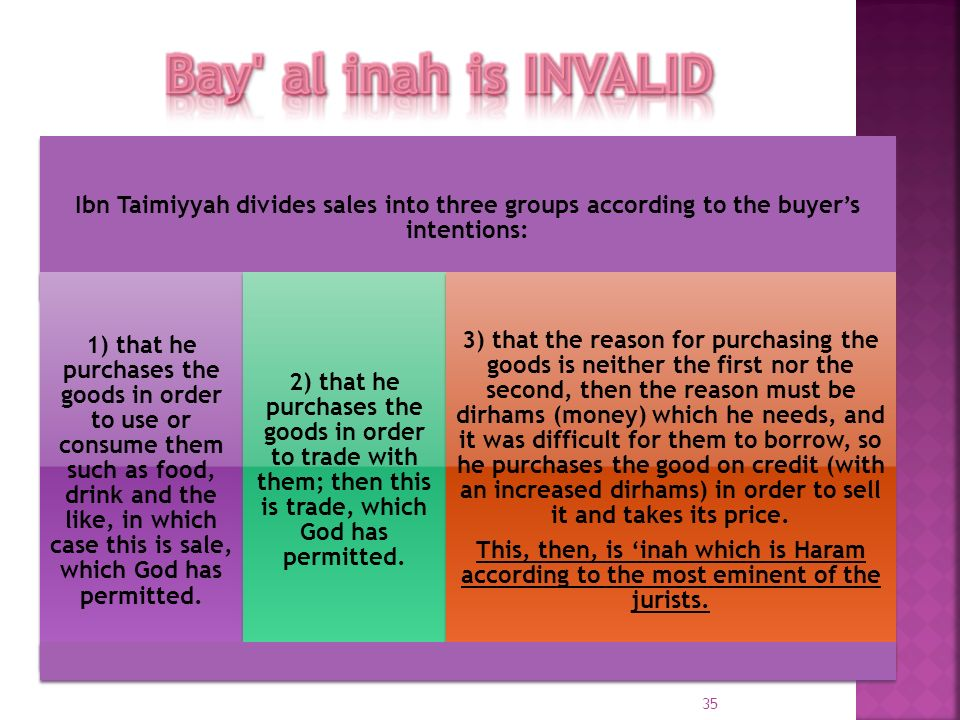 Bay al inah is INVALID Ibn Taimiyyah divides sales into three groups according to the buyer's intentions: