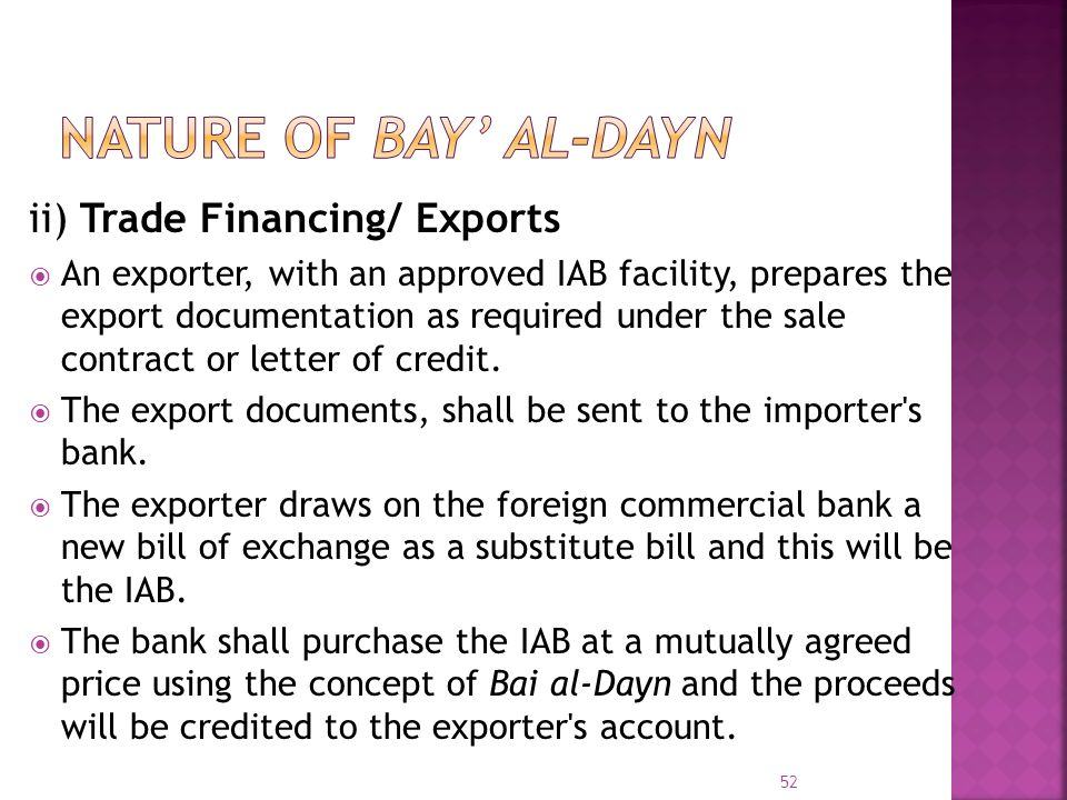 NATURE OF BAY' AL-DAYN ii) Trade Financing/ Exports