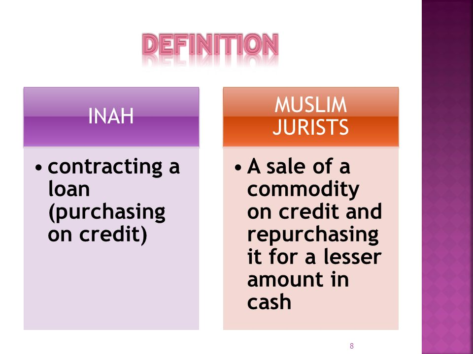 DEFINITION INAH contracting a loan (purchasing on credit)