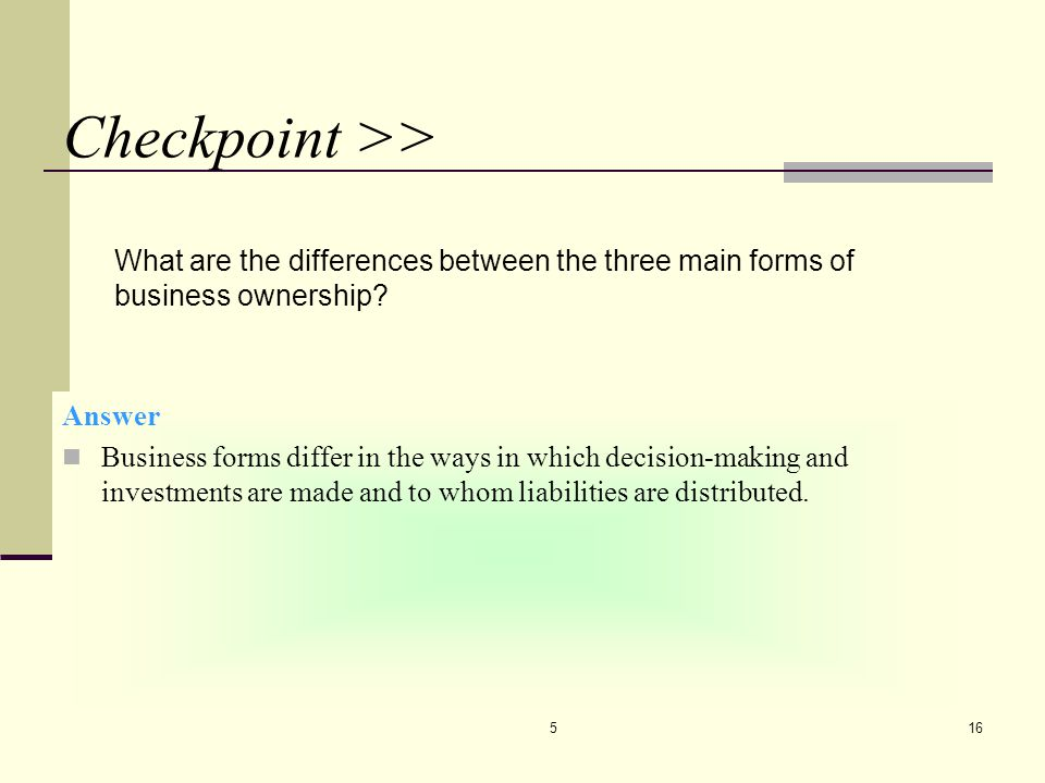 CHAPTER 5 4/7/2017. Checkpoint >> What are the differences between the three main forms of business ownership