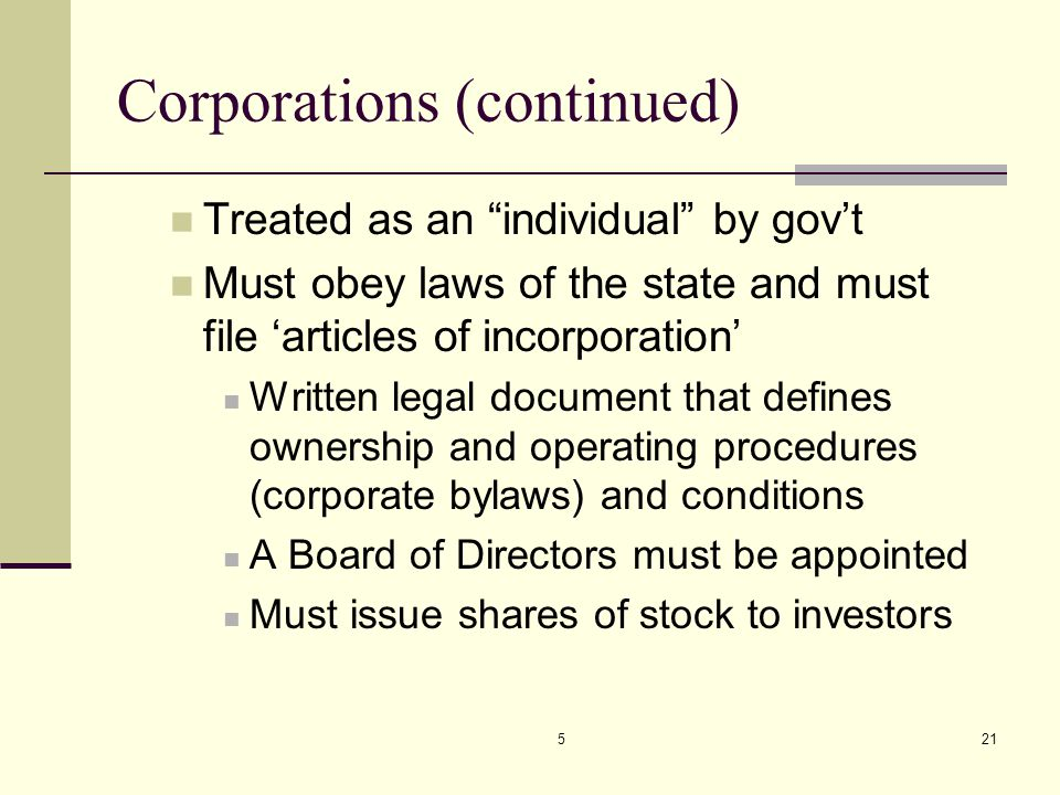Corporations (continued)