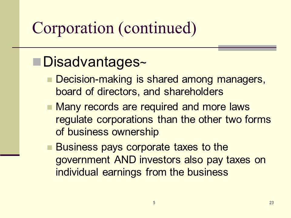 Corporation (continued)