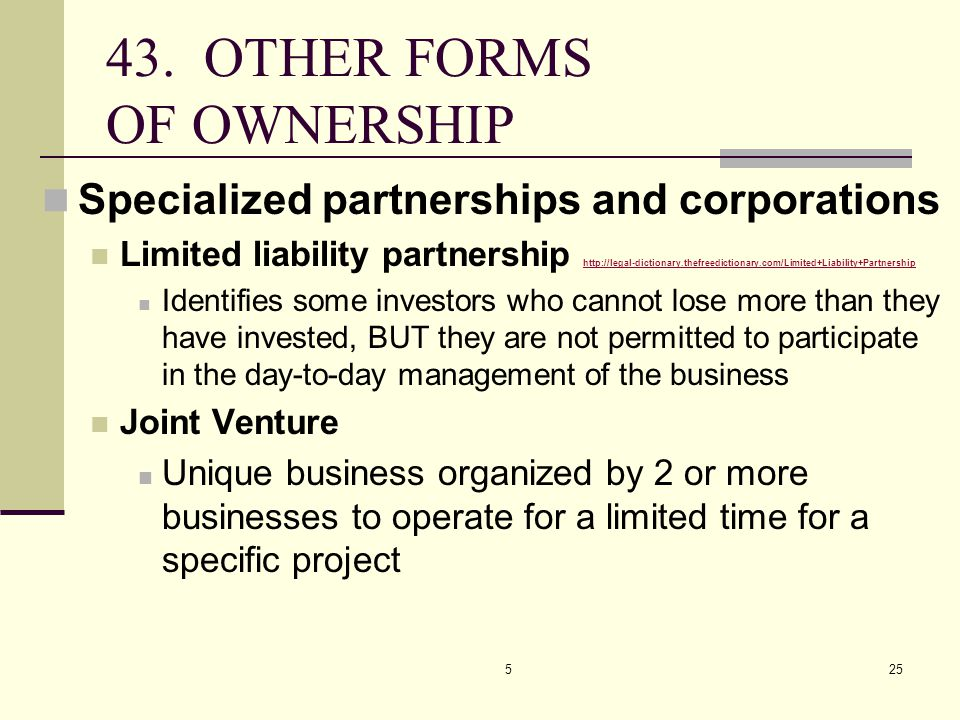 43. OTHER FORMS OF OWNERSHIP