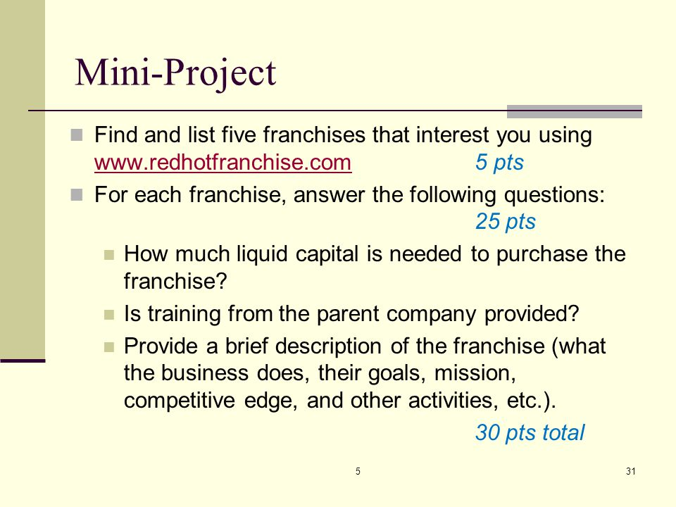 Mini-Project Find and list five franchises that interest you using www.redhotfranchise.com 5 pts.