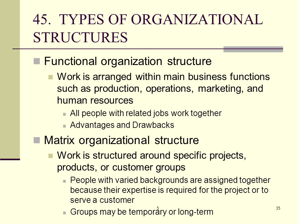 45. TYPES OF ORGANIZATIONAL STRUCTURES