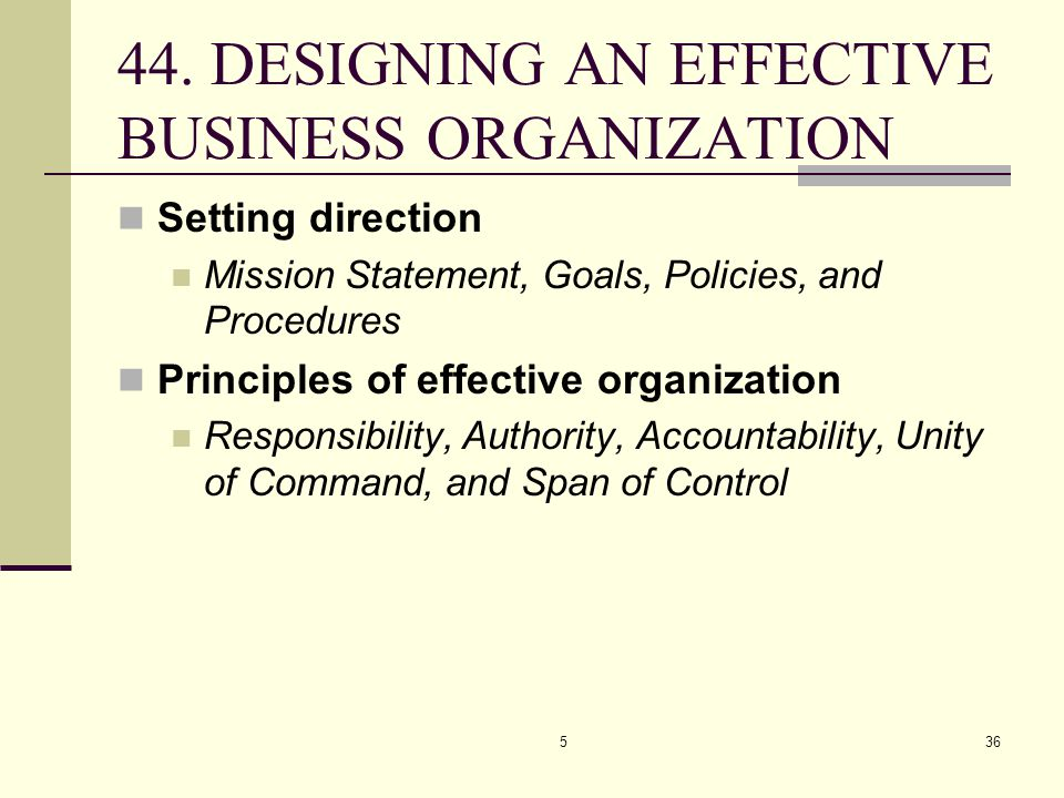 44. DESIGNING AN EFFECTIVE BUSINESS ORGANIZATION