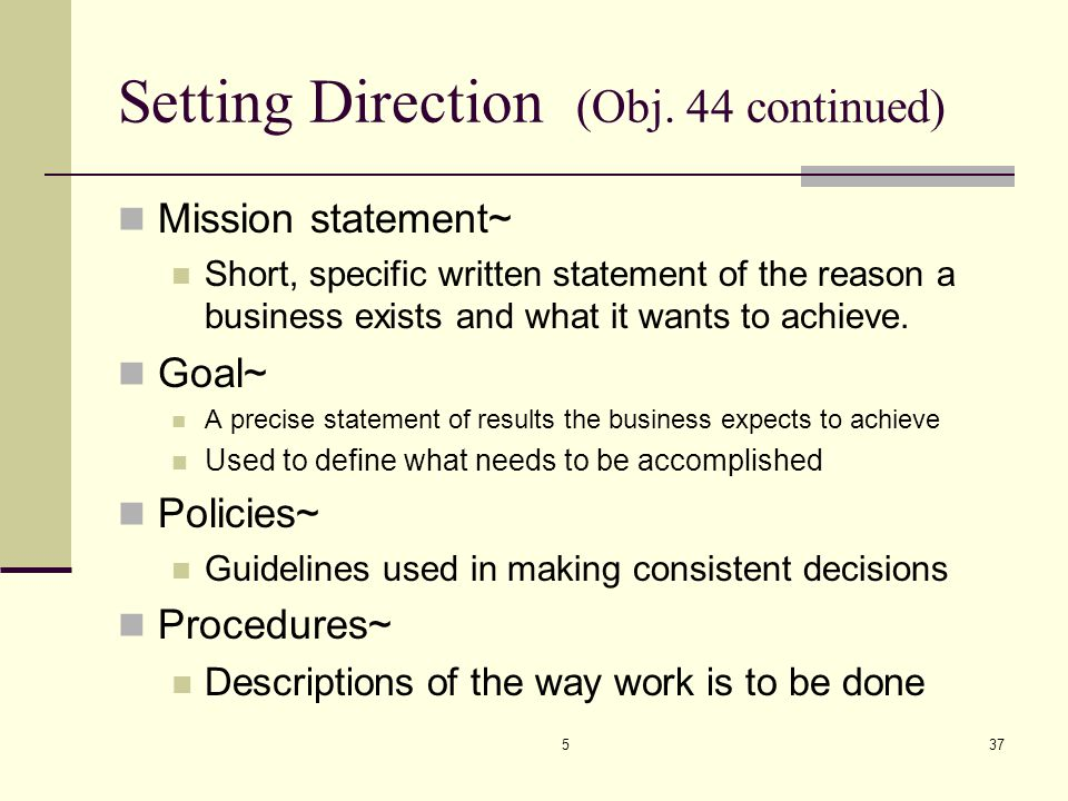 Setting Direction (Obj. 44 continued)