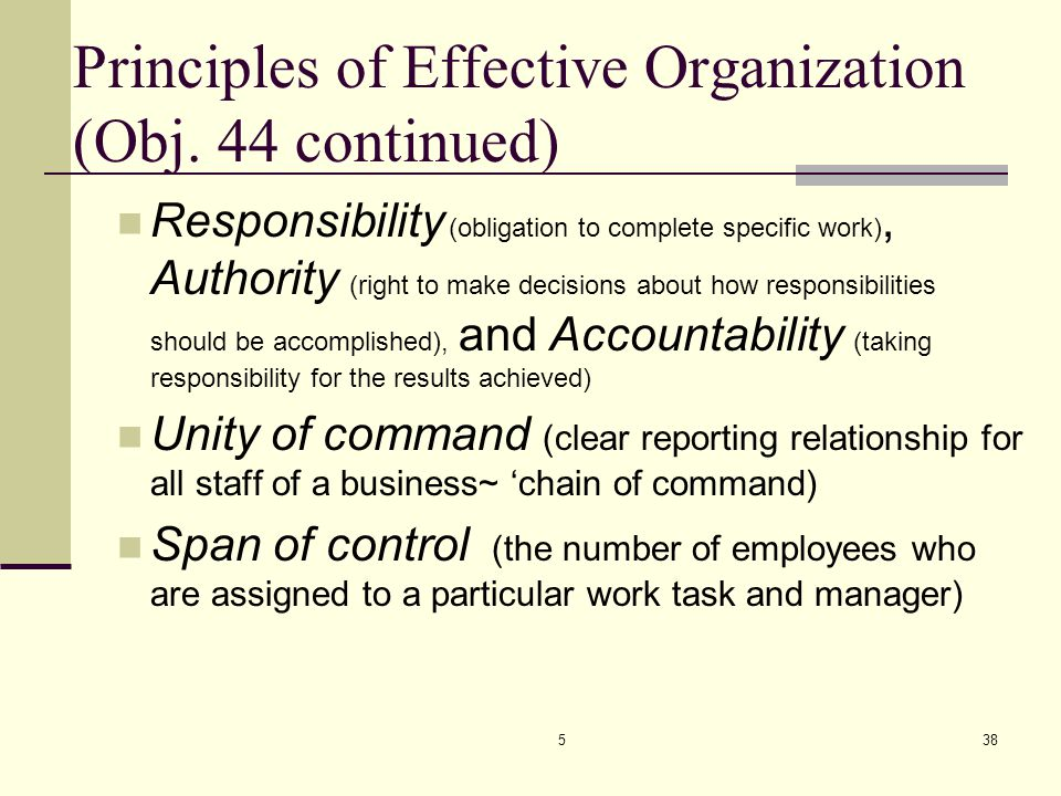 Principles of Effective Organization (Obj. 44 continued)