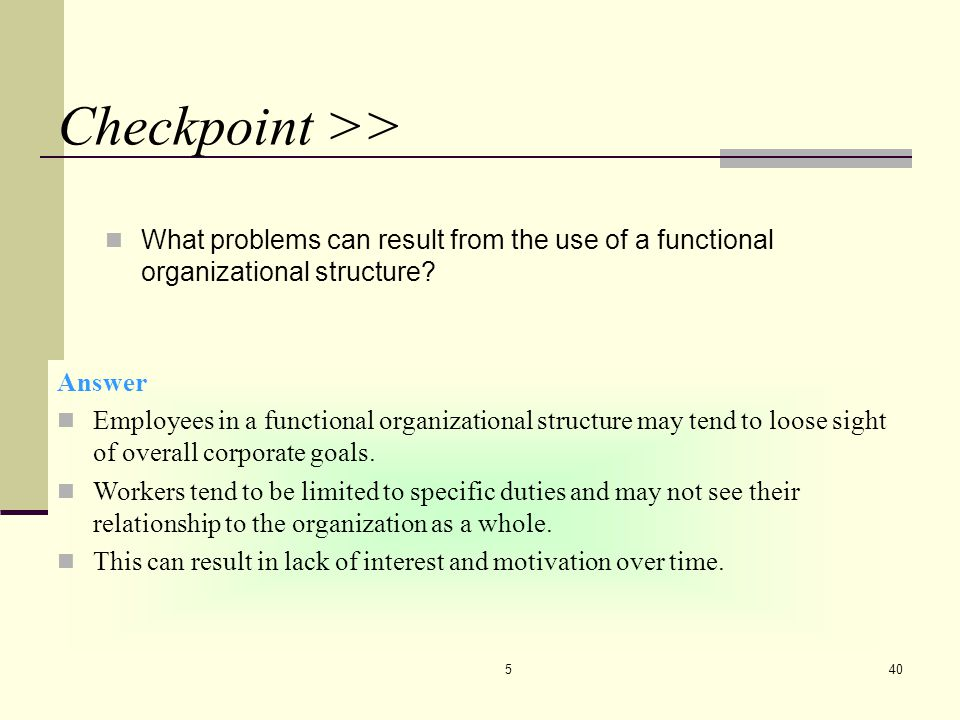 CHAPTER 5 4/7/2017. Checkpoint >> What problems can result from the use of a functional organizational structure