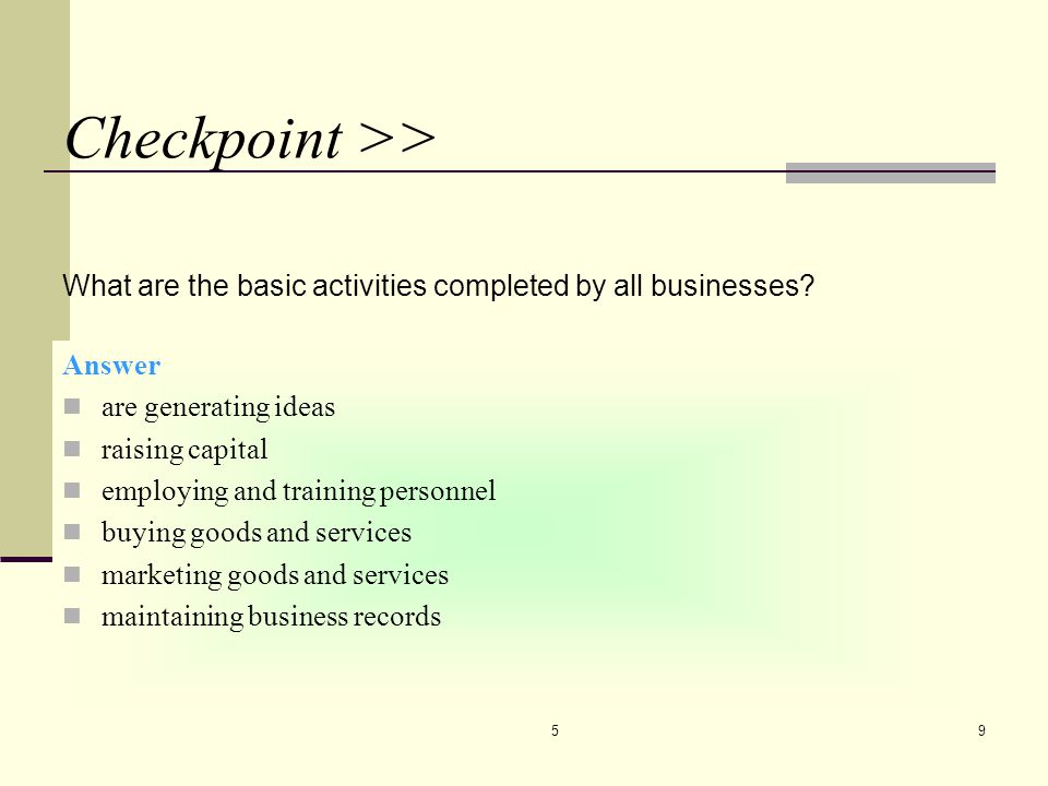 CHAPTER 5 4/7/2017. Checkpoint >> What are the basic activities completed by all businesses Answer.