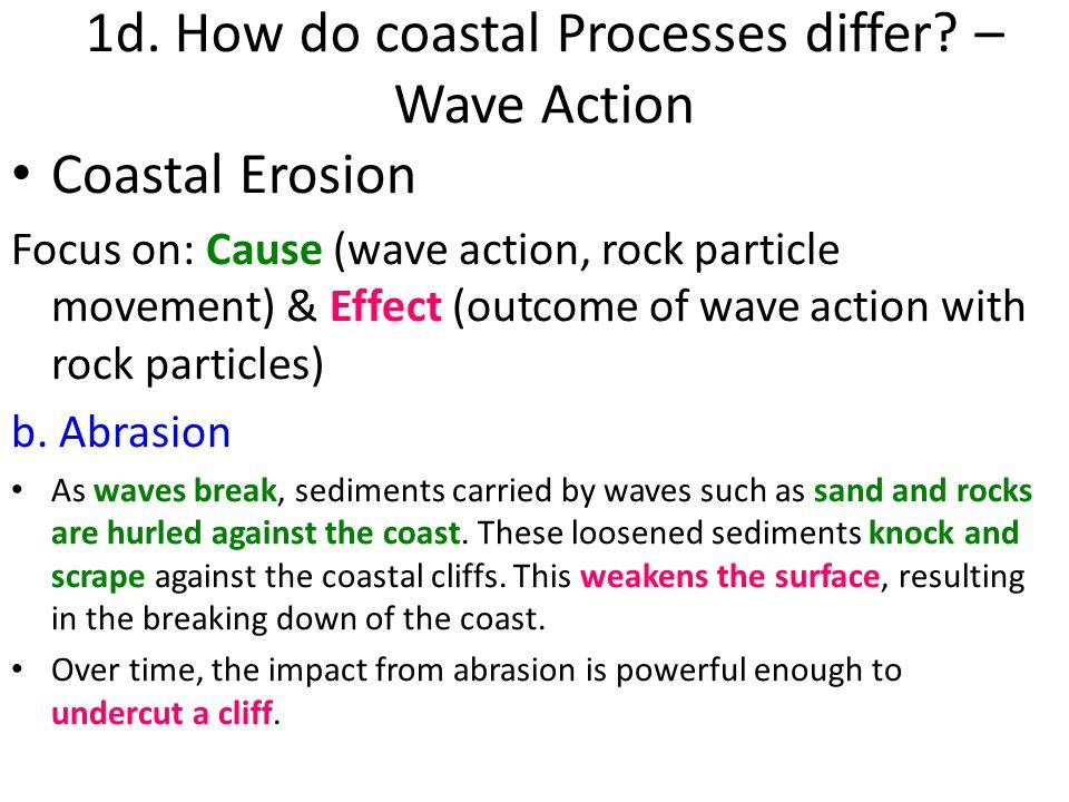1d. How do coastal Processes differ – Wave Action