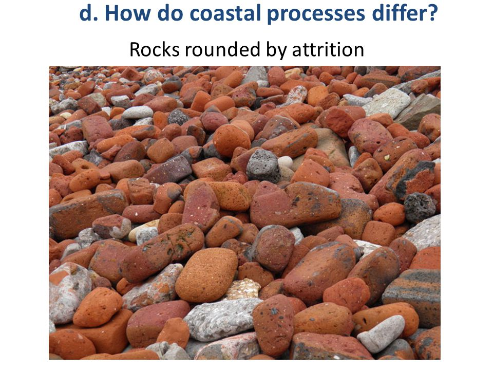 Rocks rounded by attrition