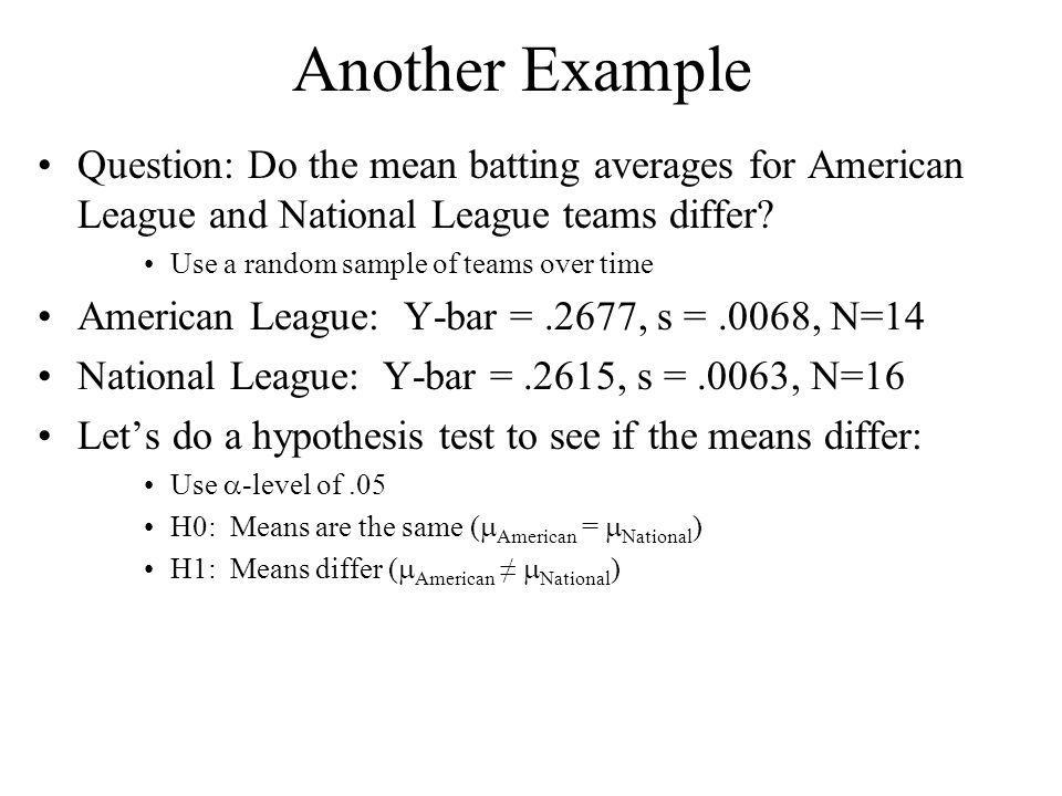 Another Example Question: Do the mean batting averages for American League and National League teams differ